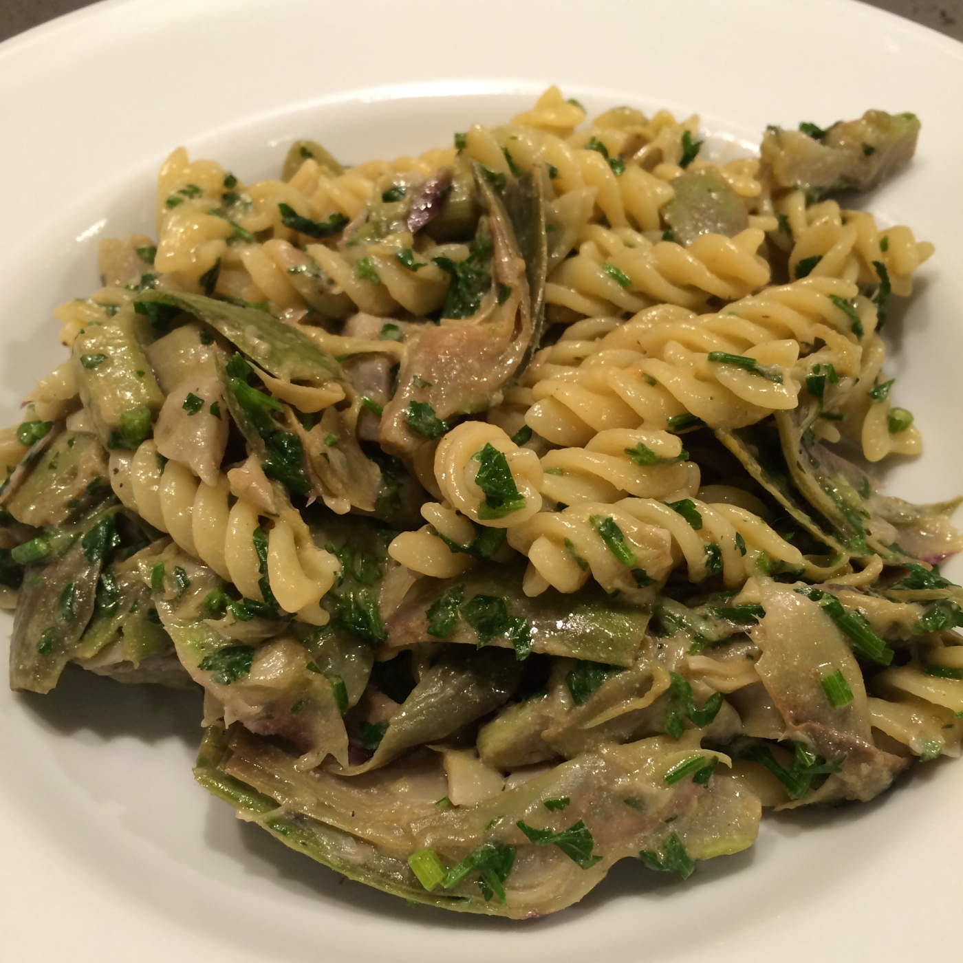 Napoli soul food fusilli with artichokes and vegan smoked for Cuisine 04 mains
